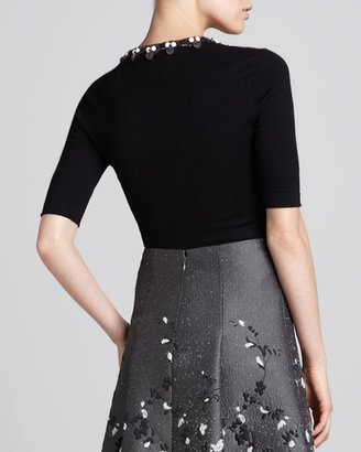 Carolina Herrera Floral-Embellished V-Neck Sweater