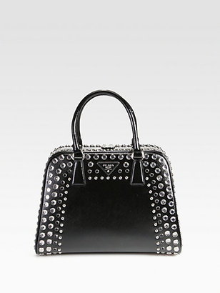 Prada Saffiano Vernice Embellished Frame Pyramid Top Handle Bag