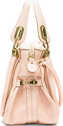 Chloé Blush Grained Leather Medium Paraty Shoulder Bag