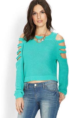 LOVE21 LOVE 21 Clear Cut Cropped Sweater