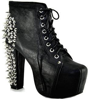 Jeffrey Campbell Spike - Black Leather Spiked Platform Bootie