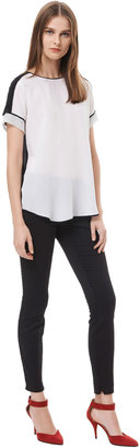 Rebecca Taylor Short Sleeve Tee With Silk Insets
