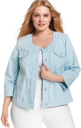 JM Collection Plus Size Jacket, Three-Quarter-Sleeve Denim