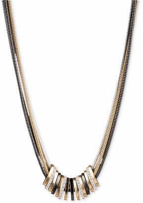 Nine West Tri-Tone Crystal Large Slider Necklace