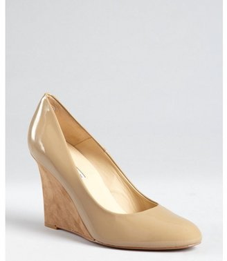 Charles David tan patent leather 'Vibrant' suede wedge pumps