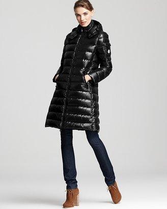 Moncler Moka Lacquer Mid Length Down Coat