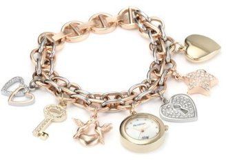 Swarovski Armitron Women's 75/3995MPTC Crystal Accented Silver-Tone, Rosegold-tone and Gold-tone Charm Bracelet Watch