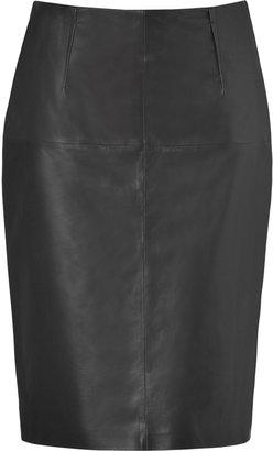 Paule Ka Black Leather Pencil Skirt