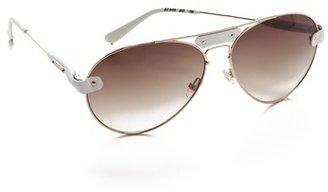 Chloé Oversized Tamaris Aviator Sunglasses with Leather Trim