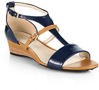 Tod's Leather & Patent Leather T-Strap Demi-Wedge Sandals