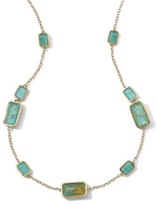 Ippolita 18k Gold Rock Candy Gelato 9-Stone Rectangle Necklace, Rutilated Quartz/Turquoise