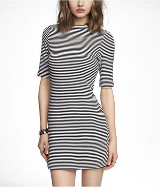 Express Striped Mock Neck Mini Dress