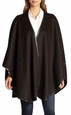 Sofia Cashmere Reversible Leather Trim Cape