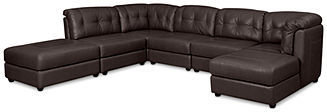 "Fabian Leather Modular Sectional Sofa, 6-Piece (Square Corner, Chaise, 3 Armless Chairs, and Ottoman) 147""W x 114""D x 35""H: RAF"