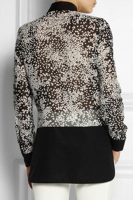 Giambattista Valli Printed cotton-trimmed silk-chiffon shirt