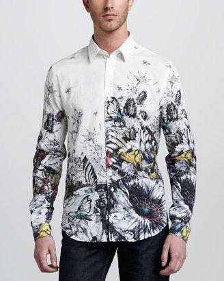 McQ by Alexander McQueen Hand-Drawn Butterfly Sport Shirt