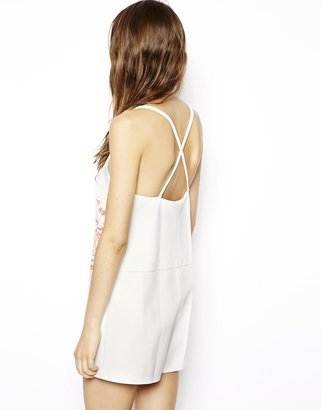 Asos Premium Playsuit in Leather Look with Cut Work Detail