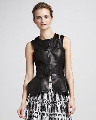 BCBGMAXAZRIA Leather Cutout Vest