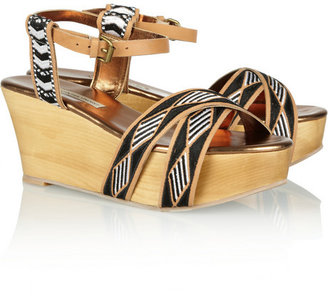 Twelfth St. By Cynthia Vincent Dabney embroidered washed-leather wedge sandals