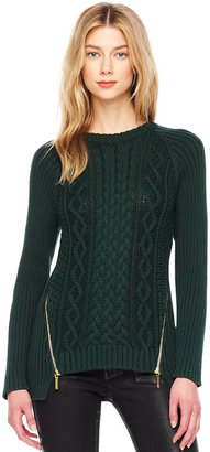 Michael Kors Zip-Slit Cable Sweater
