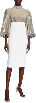 Badgley Mischka Sequin Mock-Neck Balloon-Sleeve Crepe Dress