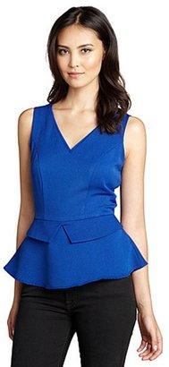 Jaye.e Blue Textured Sleeveless Peplum Top