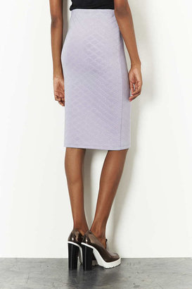 Topshop Grey Flat Quilted Tube Skirt