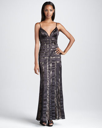 Aidan Mattox Geometric Lace Gown