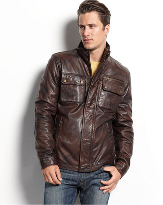 Guess Coat, Medium-Weight Leather Jacket