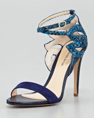 Alexandre Birman Python Ankle-Cutout Sandal, Blue