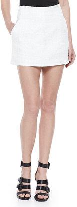 Theyskens' Theory Tweed Mini Skirt, White