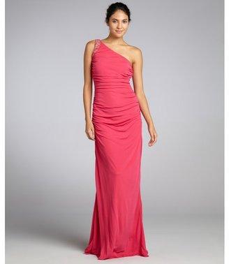 Badgley Mischka hot pink knit jersey embellished one shoulder dress