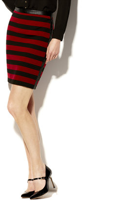Vince Camuto Pleather Trim Bar Stripe Skirt
