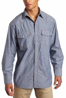 Key Apparel Men's Pre-Washed Blue Chambray Western Snap Long Sleeve Shirt