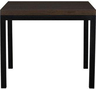 "Crate & Barrel Myrtle Top/ Natural Dark Steel Base 36"" Sq. Parsons Dining Table"