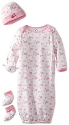 Gerber Baby-Girls Organic 3-Piece Layette Starter Set Gown with Cap and Booties