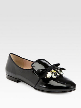 Miu Miu Embellished Patent Leather Bow Smoking Slippers
