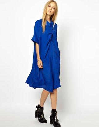 Peter Jensen Bow Smock Shirt Dress in Crepe Viscose - Blue