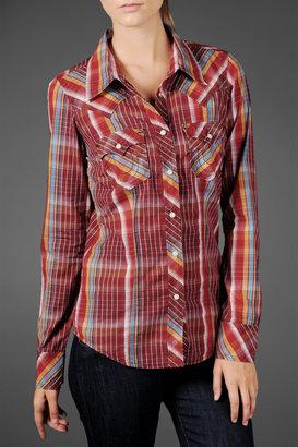 True Religion Women's Rocky Western Plaid Shirt - Halifax Red