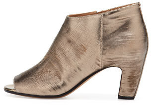 Maison Martin Margiela Leather Peep-toe Metallic Ankle Bootie
