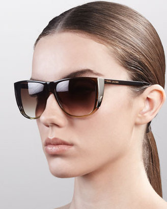 Marc Jacobs Oversized Ombre Sunglasses, Brown/Nude/Lime