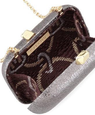Kotur Margo Crinkled Metallic Box Clutch Bag, Pewter