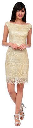 Kay Unger Sequined Lace Off The Shoulder Dress
