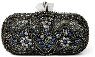Lily Embroidered Clutch in Blue Multi
