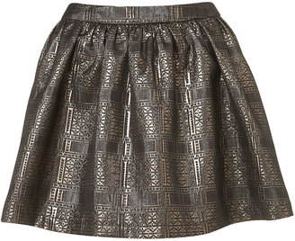 Topshop Petite Gold Jacquard Skirt