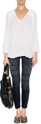 Current/Elliott The Stiletto Jeans with Lace in Washed Black