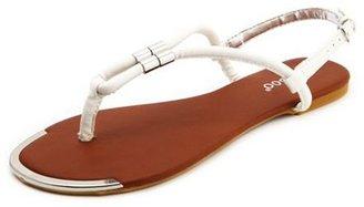 Charlotte Russe Metallic Top T-Strap Sandal