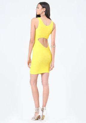 Bebe Back Cutout Shine Dress