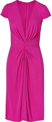 Issa Jersey Deep V-Neck Dress in Verbena