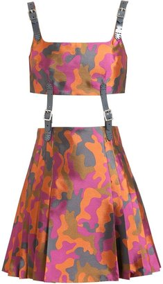 Christopher Kane Camouflage Fine Wool Kilt Dress